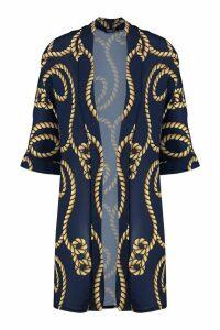 Womens Rope Midi Kimono - navy - L, Navy