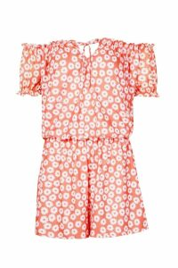 Womens Shirred Waist Floral Playsuit - orange - 14, Orange