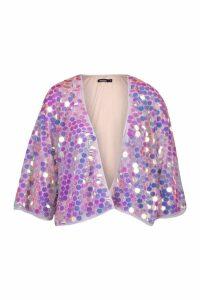 Womens Sequin Kimono - purple - S, Purple