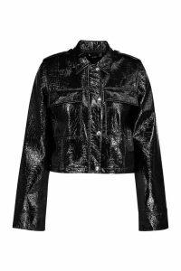 Womens Patent PU Trucker Jacket - black - 14, Black