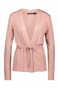 Womens Tie Waist Kimono - pink - M, Pink
