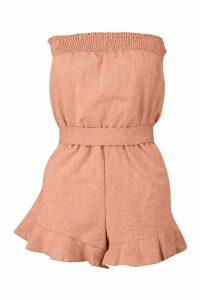 Womens Ruffle Hem Tie Waist Linen Look Playsuit - orange - 12, Orange