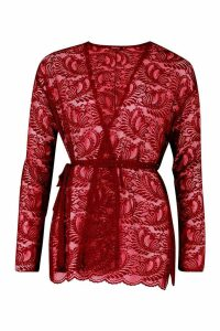 Womens Lace Belted Kimono - red - S, Red