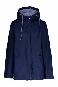 Womens PU Coated Hooded Rain Mac - navy - 12, Navy