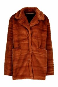 Womens Pocket Detail Faux Fur Coat - orange - 14, Orange