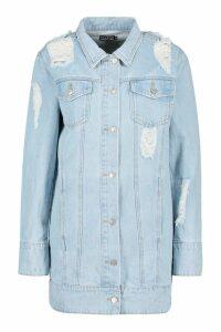 Womens Longline Denim Jacket - blue - 12, Blue