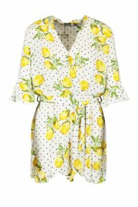Womens Tall Lemon Polka Dot Wrap Playsuit - white - 16, White