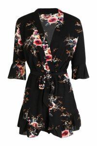 Womens Tall Floral Ruffle Detail Playsuit - black - 14, Black