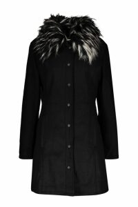 Womens Tall Detachable Faux Fur Collar Wool Look Coat - black - 10, Black