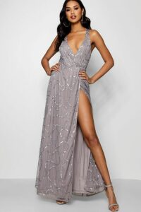 Womens Plunge Wrap Sequin Maxi Dress - grey - 10, Grey