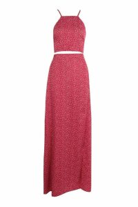 Womens Woven Printed Crop & Maxi Skirt Co-Ord Set - multi - 12, Multi