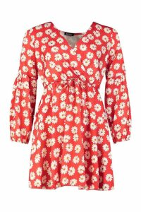 Womens Printed Wrap Detail Skater Dress - red - 16, Red