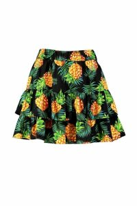 Womens Pineapple Print Ra Ra Skirt - black - 14, Black
