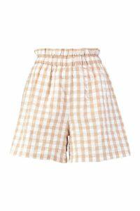 Womens Gingham Check Seersucker Shorts - cream - 14, Cream