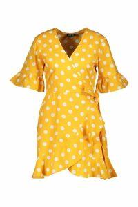 Womens Linen Woven Spot Tie Ruffle Tea Dress - yellow - 8, Yellow