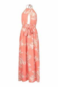 Womens Woven Floral Halterneck Cross Front Maxi Dress - orange - 14, Orange