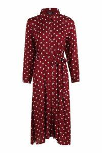 Womens Woven Midi Shirt Dress Spot Print - red - 10, Red