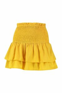 Womens Shirred Woven Double Layer Ra Ra Skirt - yellow - 14, Yellow