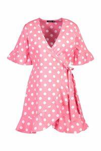 Womens Linen Woven Spot Tie Ruffle Tea Dress - Pink - 14, Pink
