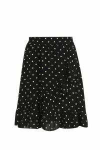 Womens Woven Polka Dot Ruffle Mini Skirt - black - 12, Black