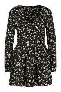 Womens Petite Long Sleeve Floral Woven Skater Dress - black - 8, Black