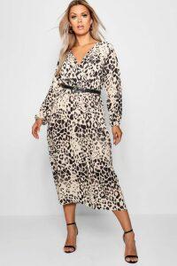 Womens Plus Leopard Midi Dress - brown - 16, Brown