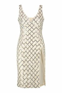 Womens Petite Sequin Extreme Thigh Split Midi Dress - Beige - 4, Beige
