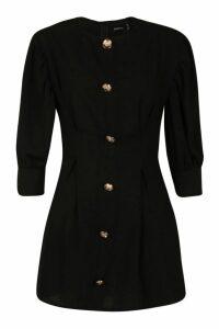Womens Petite Button Detail Shift Dress - black - 10, Black