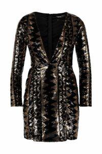 Womens Petite Sequin Aztec Split Detail Bodycon Dress - metallics - 6, Metallics