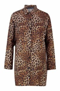 Womens Petite Woven Animal Print Shirt Dress - brown - 4, Brown
