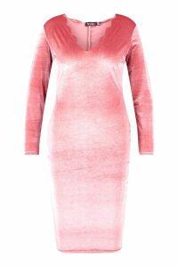 Womens Plus Velvet Scallop Edge Bodycon Dress - pink - 16, Pink