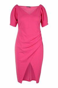 Womens Plus Puff Sleeve Wrap Mini Dress - Pink - 20, Pink