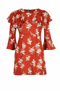 Womens Petite Floral Ruffle Sleeve Tea Dress - brown - 6, Brown