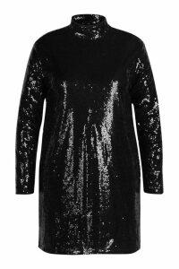 Womens Gemma Collins High Neck Sequin Shift Dress - black - 10, Black