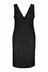Womens Plus Plunge Lace Midi Dress - black - 22, Black
