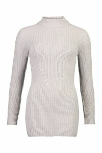 Womens Petite Ribbed Knitted Jumper Dress - grey - M, Grey