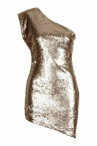 Womens Petite One Shoulder Sequin Bodycon Mini Dress - brown - 14, Brown