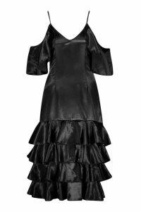 Womens Petite Ruffle Hem Cold Shoulder Satin Dress - black - 6, Black