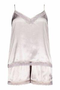 Womens Plus Lace Trim Cami Pyjama Short Set - grey - 16, Grey
