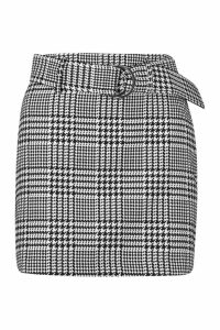 Womens Petite Houndstooth Jacquard Belted Mini Skirt - white - 14, White