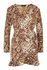 Womens Petite Snake Print Ruffle & Wrap Skater Dress - brown - 12, Brown