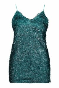 Womens Petite Textured Split Dress - Green - 14, Green