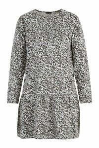 Womens Plus Leopard Print Drop Hem Dress - beige - 20, Beige