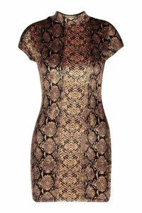 Womens Petite Velvet Snake Print Bodycon Dress - orange - 14, Orange