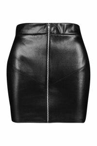 Womens Petite Zip Front PU Mini Skirt - black - 10, Black