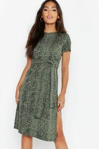 Womens Petite Snake Print Belted Midi Dress - green - 14, Green