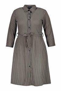 Womens Plus Stripe Tie Midi Dress - navy - 18, Navy