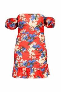 Womens Plus Floral Print Woven Bardot Frill Mini Dress - red - 24, Red