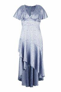 Womens Plus Satin Jaquard Leopard Ruffle Maxi Dress - blue - 18, Blue