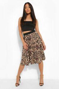 Womens Petite Leopard Print Pleated Midi Skirt - brown - M, Brown